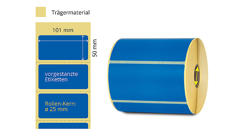 blaue Etiketten Thermotransfer