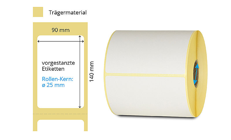Etikettenrolle Thermo weiss