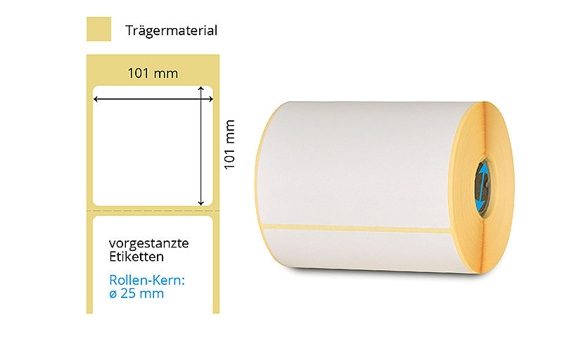 Thermotransfer-Etiketten-Rolle weiss