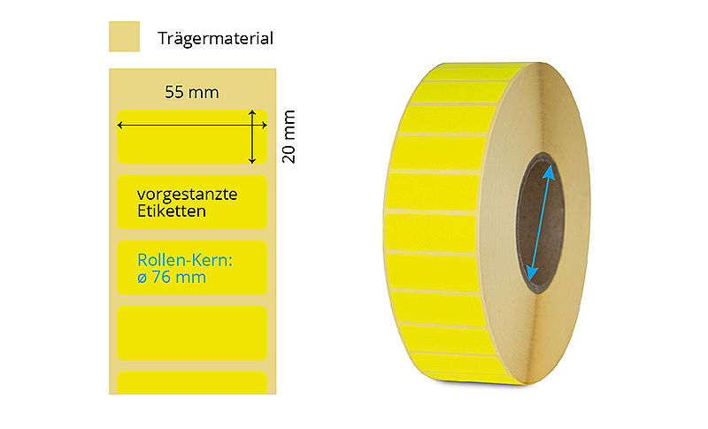 Gelbe Etiketten Thermotransfer Rolle