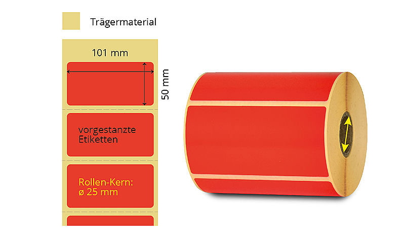 rote Etiketten Thermotransfer
